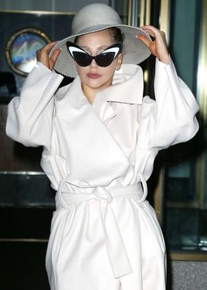 Lady Gaga in White Coat Leaving Her Hotel in New York