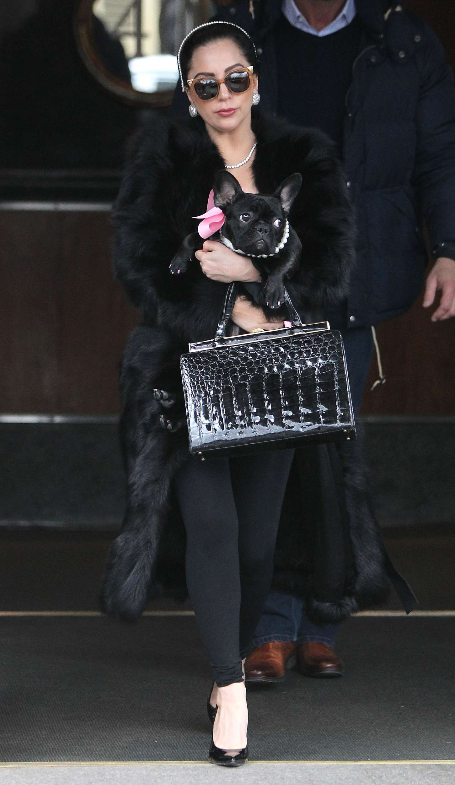 Lady Gaga With Her Dog Leaving her hotel in NY
