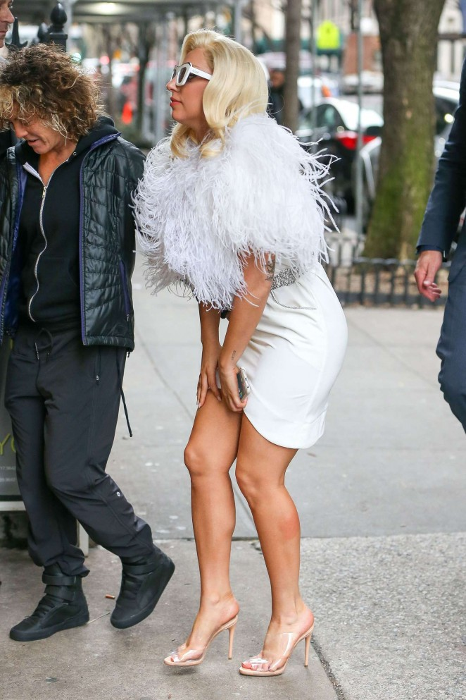 Lady Gaga in White Dress Leaving Her Hotel in NYC