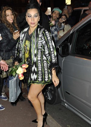Lady Gaga in Mioni Dress Leaving Omega Studio In Paris
