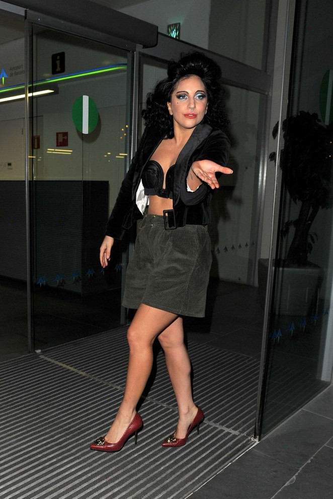 Lady Gaga in Short Dress and Bra out in Barcelona