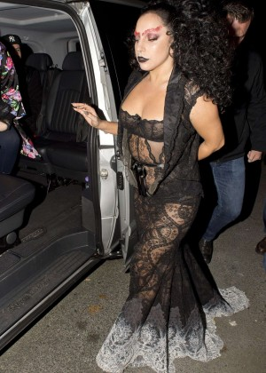 Lady Gaga in Black Dress out in London