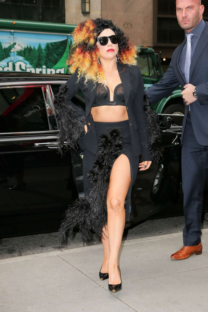 Lady Gaga in Black Skirt and Bra out in NYC