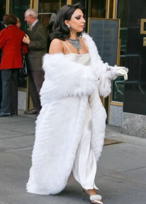 Lady Gaga in White out in NYC