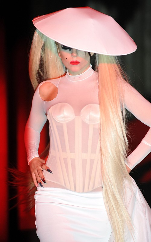 Lady Gaga on the catwalk for designer Thierry Mugler's show in Paris