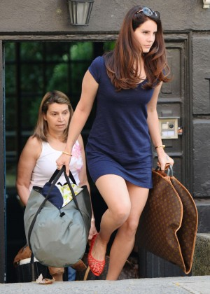 Lana Del Rey in Blue Mini Dress out in NYC