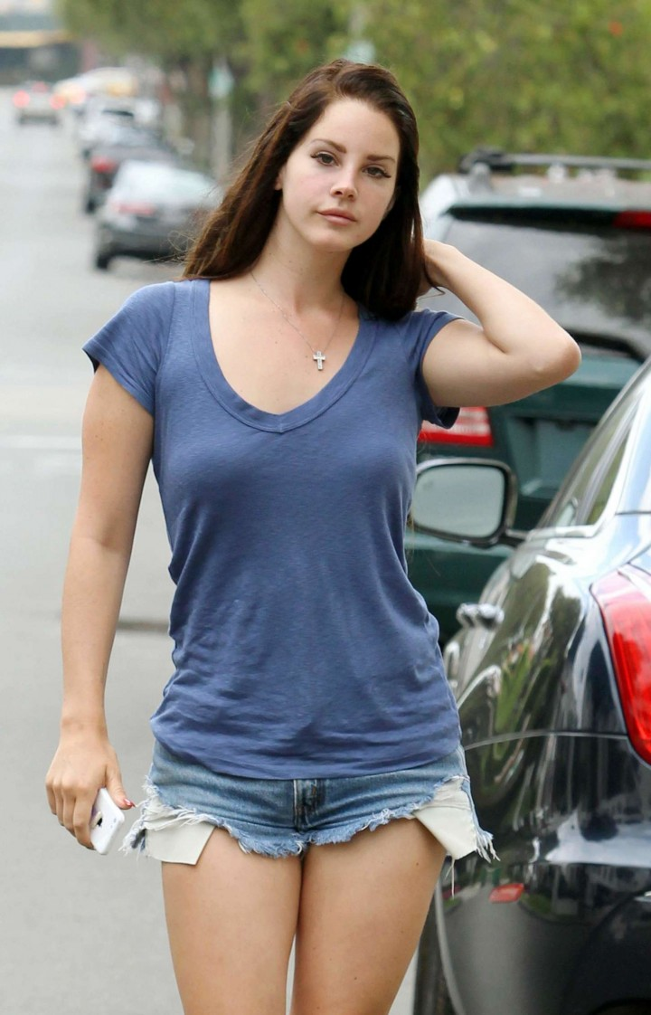 Lana Del Rey in Denim Shorts out and about in LA