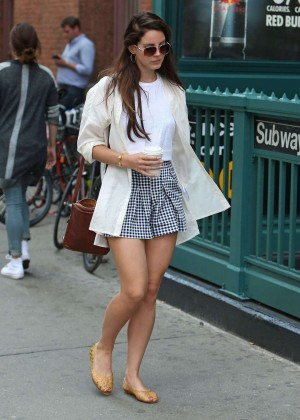 Lana Del Rey in Mini Skirt out in SoHo