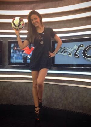 Laura Barriales in Mini Skirt at JTV