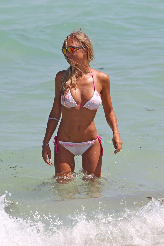 Laura Cremaschi in White Bikini on Miami Beach