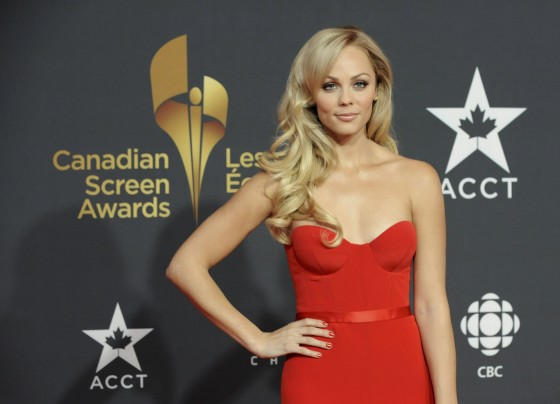 Laura Vandervoort In Red Dress at Canadian Screen Awards 2013-01