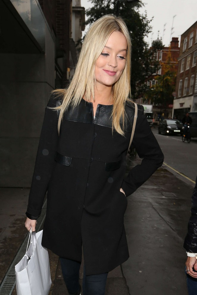 Laura Whitmore in Black Coat Out in London