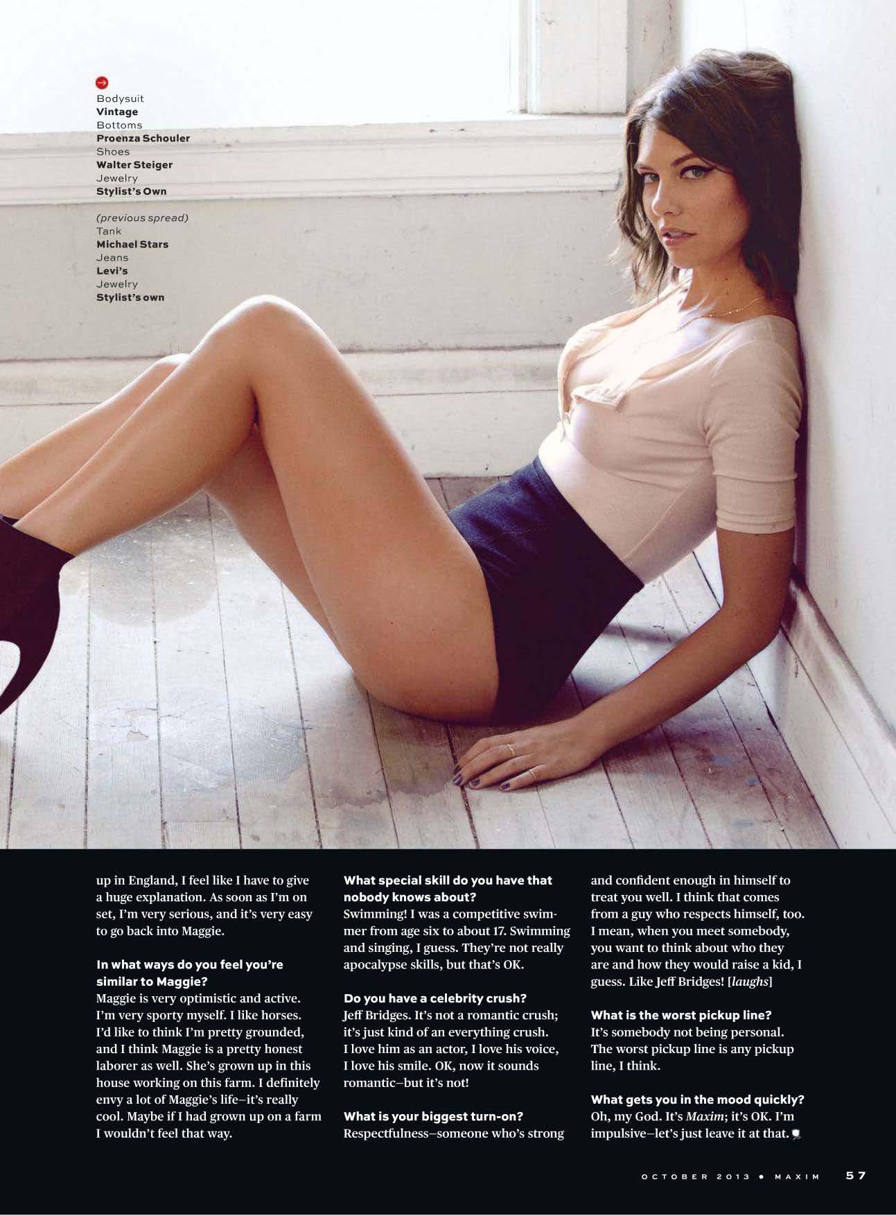 Back to post Lauren Cohan     Maxim USA Magazine  October 2013 Lauren Cohan Maxim 2013