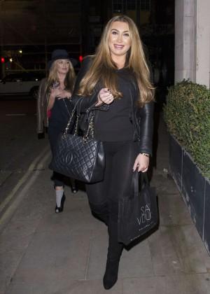 Lauren Goodger in Leggings at Roka Mayfair in London
