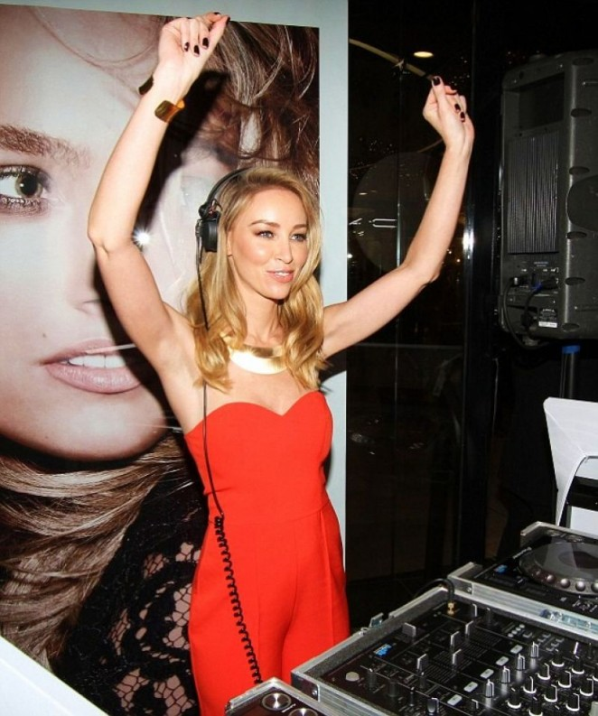 Lauren Pope in Red Jumpsuit at Goldsmiths The Jewellers Opening in Essex