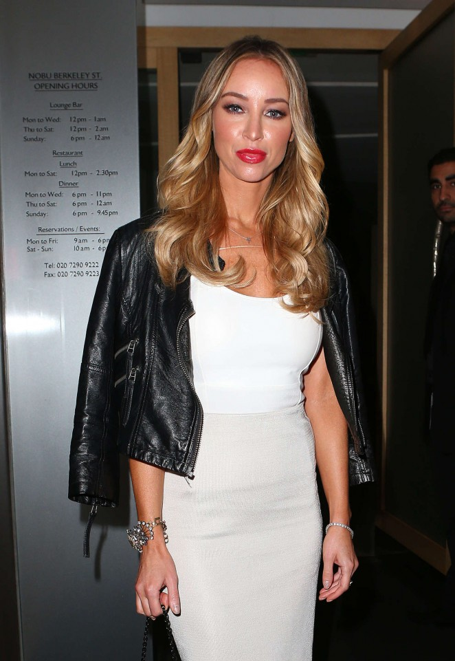 Lauren Pope in Tight Dress at Nobu Restaurant in Mayfair