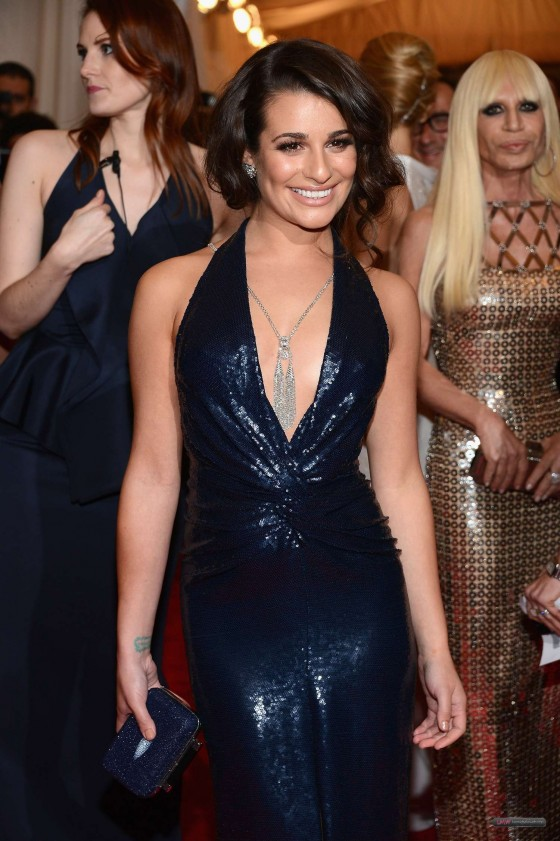 Lea Michele Cleavage in hot blue dress at 2012 Costume Institute Gala Met Ball in NY