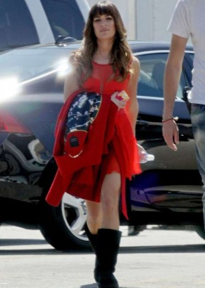 Lea Michele in Red Mini Dress - Glee Set Photos -02