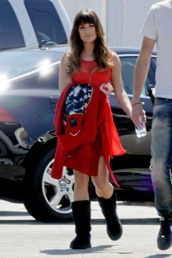 Lea Michele in Red Mini Dress - Glee Set Photos -08