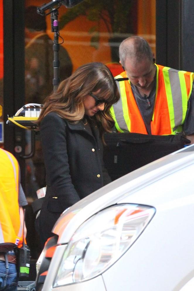 Lea Michele on Glee set -02