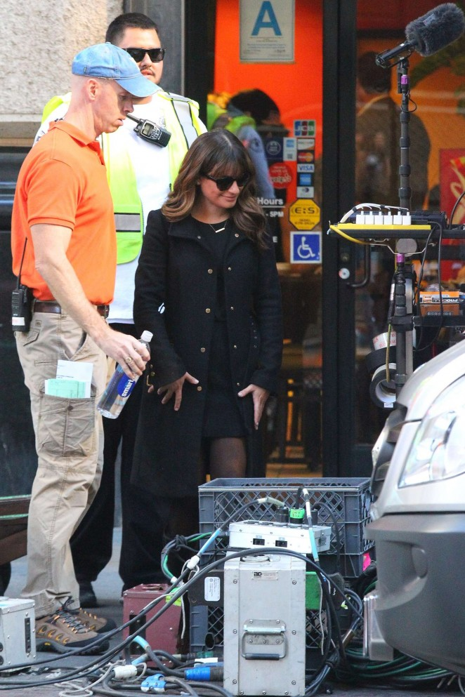 Lea Michele on Glee set -05