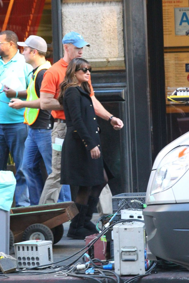 Lea Michele on Glee set -08