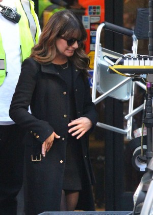 Lea Michele on the set of 'Glee' in LA