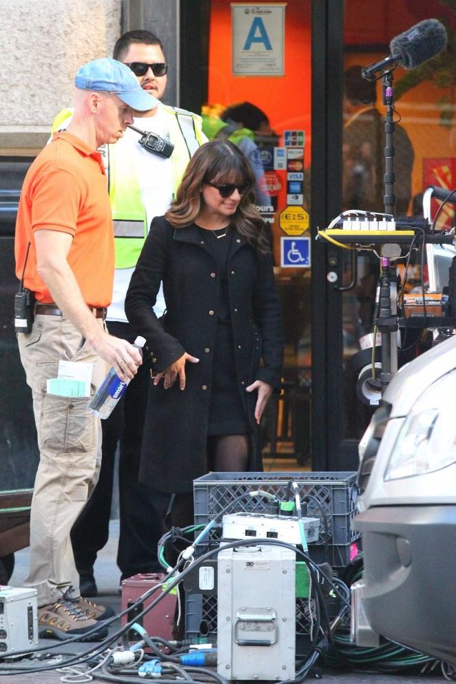 Lea Michele on Glee set -15