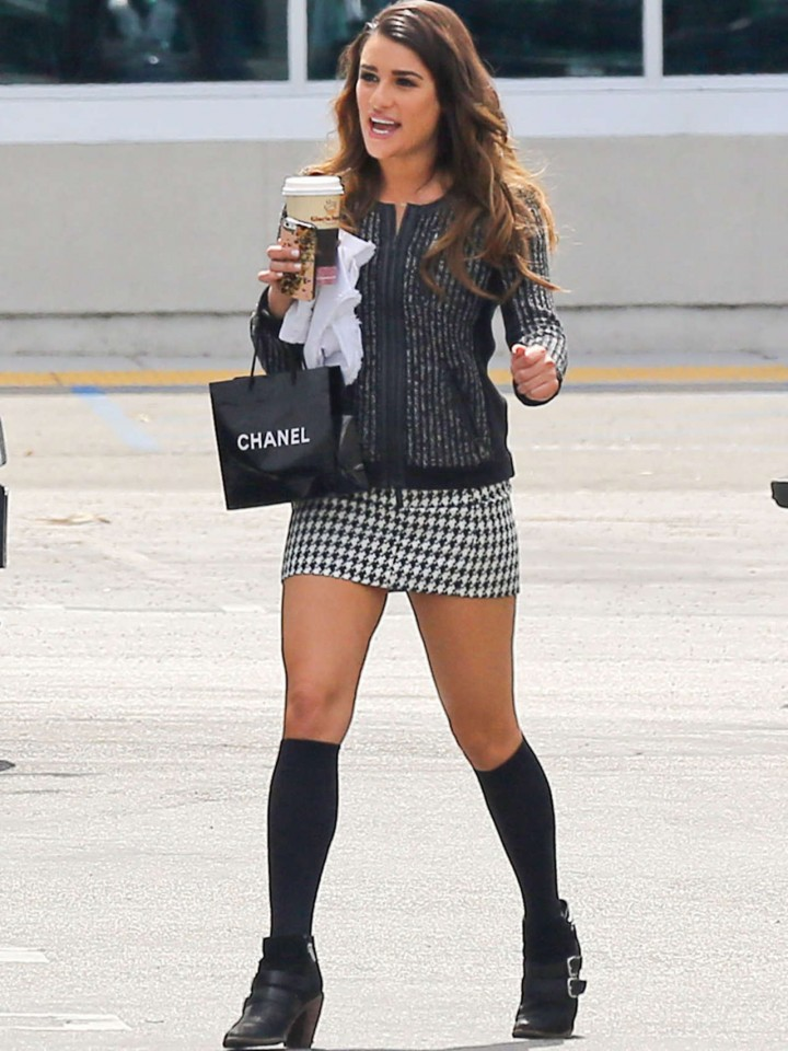 """Lea Michele in a Miniskirt on The Set of """"Glee"""""""