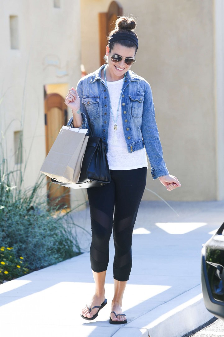 Lea Michele in Tight Leggings Leaving a Salon in Calabasas