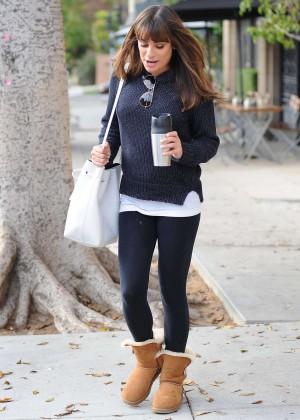 Lea Michele in Leggings Leaving Le Pain Quotidien in West Hollywood