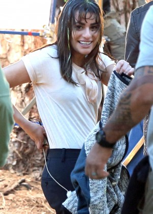 Lea Michele - on set of 'Glee' in LA