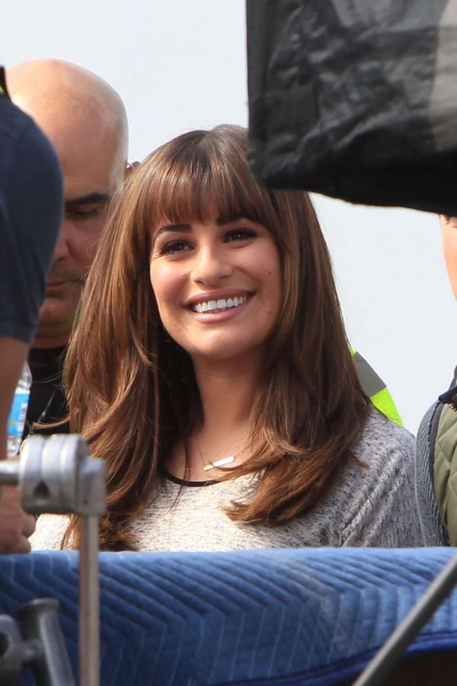 Lea Michele – set of 'Glee' in LA