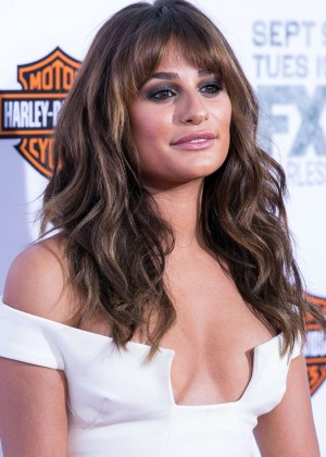 "Lea Michele In a white long dress at ""Sons of Anarchy"" Los Angeles Premiere"
