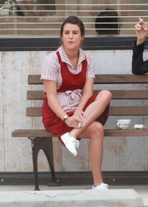 Lea Michele wearing a waitress outfit On the set of 'Sons of Anarchy' in LA
