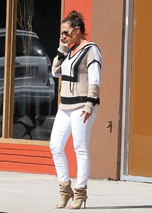 Leah Remini in White Jeans at ballroom dancing class in LA