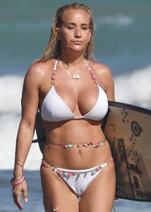Leah Wright White Bikini Candids in Spain