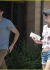 Leighton Meester in denim short shorts out for a breakfast in LA -04