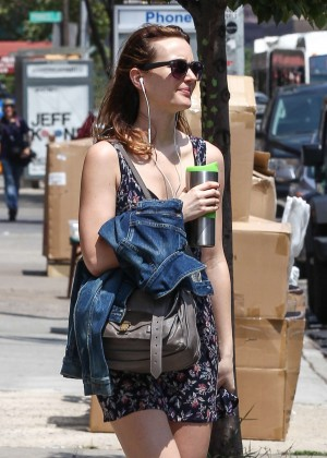 Leighton Meester in Floral Print Dress out in NYC
