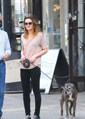 Leighton Meester Dog Walk Out in NYC -11