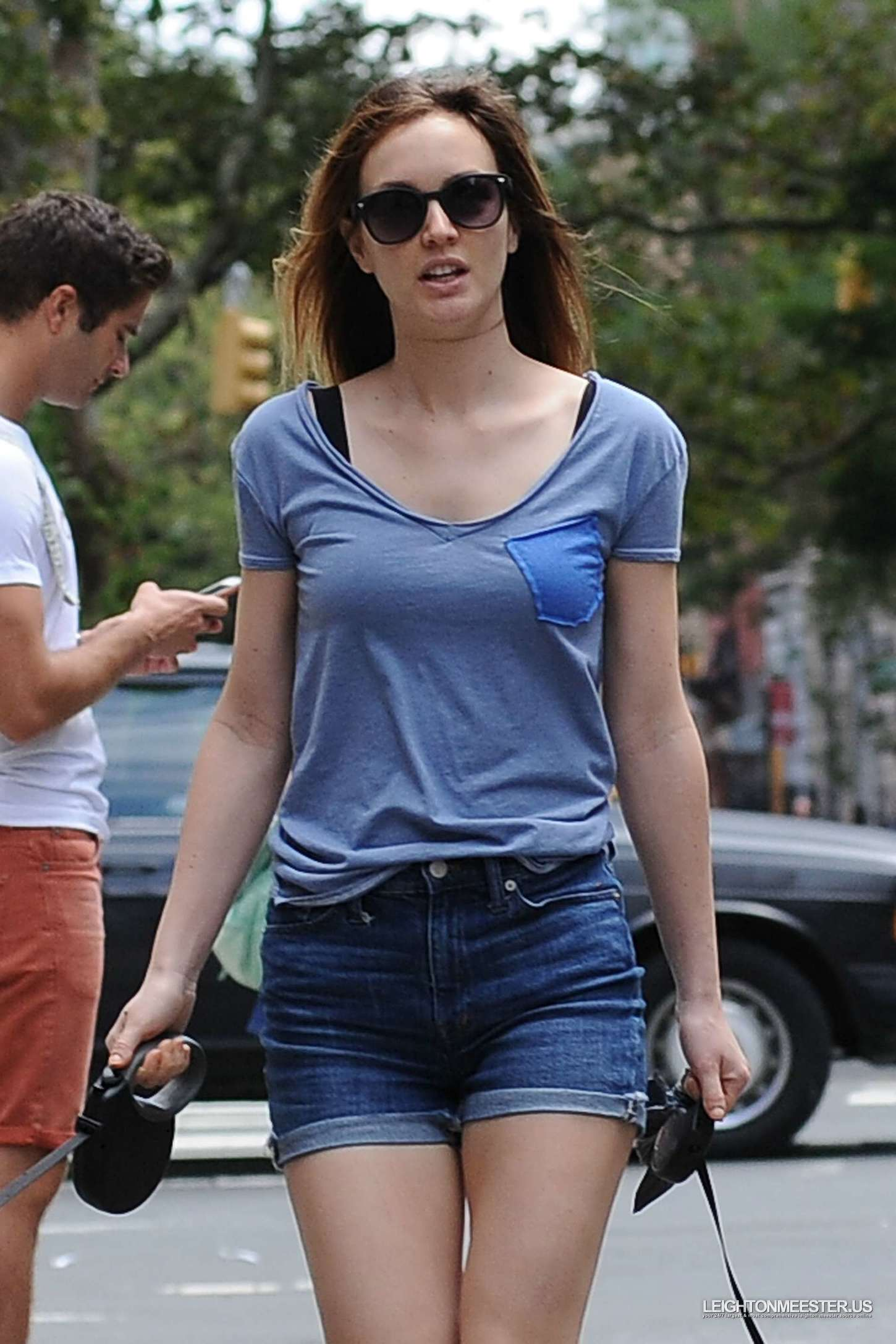 Leighton Meester Walking Her Dogs In New York City