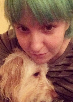 Lena Dunham - Green Hair Candids - Instagram