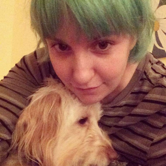 Lena Dunham: Green Hair Candids – Instagram -01