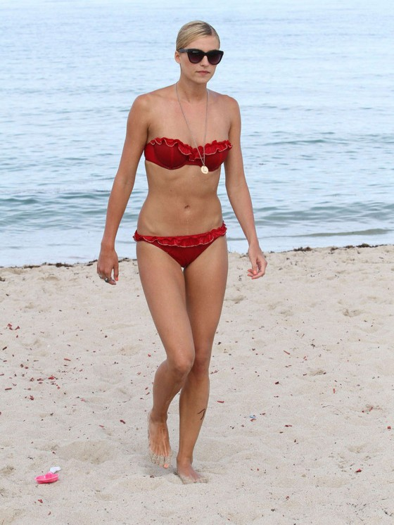 Lena Gercke - Wear Red Bikini at the beach in Miami