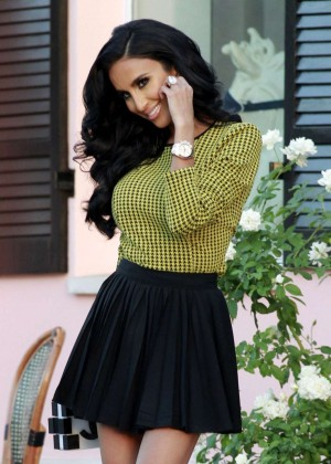 Lilly Ghalichi in Black Mini Skirts at Photoshoot in LA