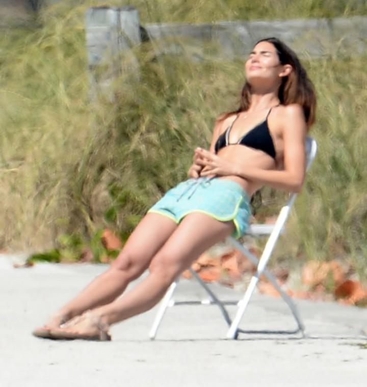 Lily Aldridge on the set of a photoshoot in Miami