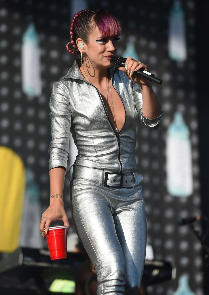 Lily Allen in Silver Jumpsui Performs Live at V Festival at Hylands Park