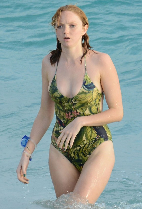 Lily Cole - Swimsuit candids on a yacht in St Barts