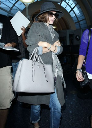 Lily Collins at LAX Airport in LA