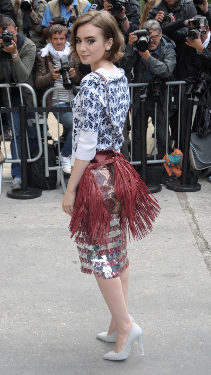 Lily Collins Paris Fashion Week 2014 13 Gotceleb